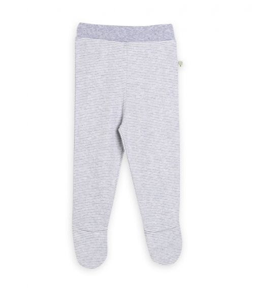 ORGANIC KID Grey Striped Footed Pant