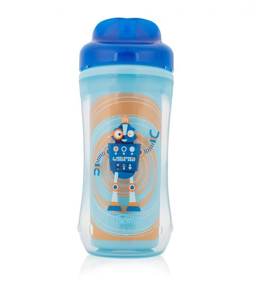 DR. BROWN'S 10 Oz Spoutless Insulated Cup Blue Robot