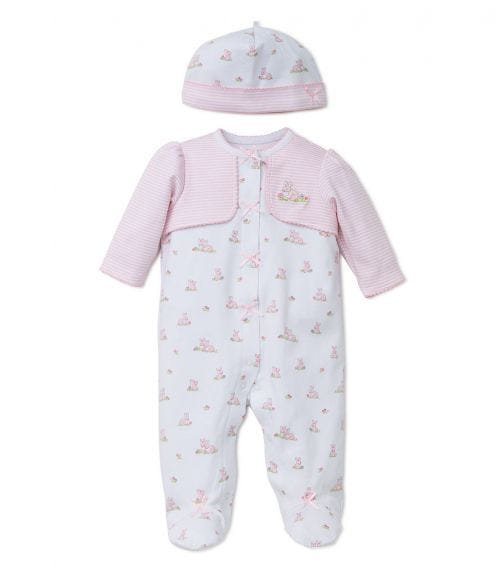 LITTLE ME Baby Bunnies Romper With Footie And Hat