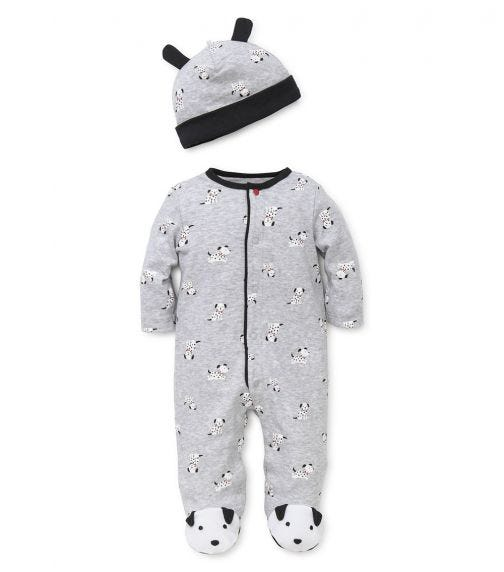 LITTLE ME Dalamtian Romper With Footie And Hat