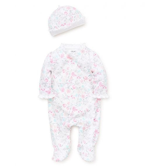 LITTLE ME Watercolor Florals Romper With Footie And Hat