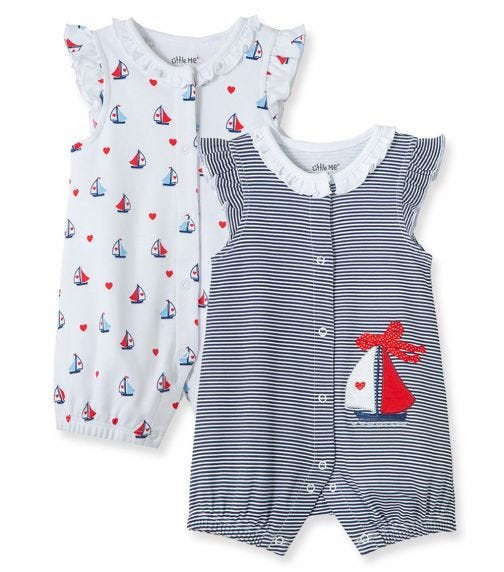 LITTLE ME 2-Pack Sailboat Rompers