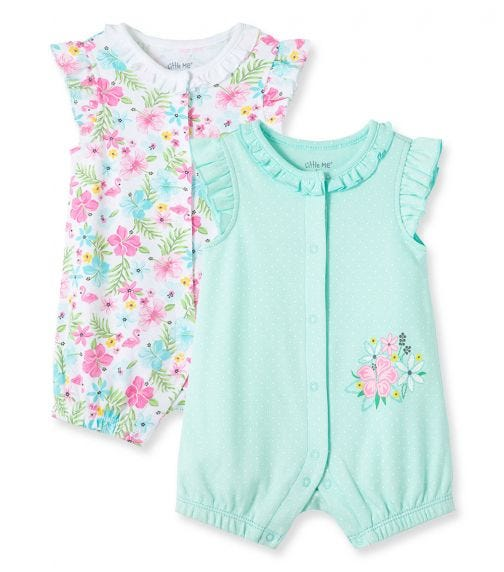 LITTLE ME 2-Pack Tropical Rompers
