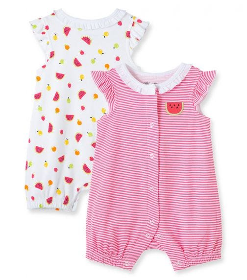 LITTLE ME 2-Pack Fruit Rompers