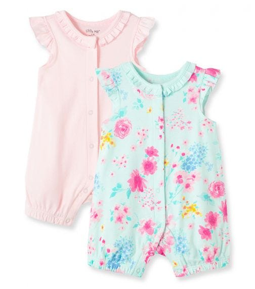 LITTLE ME 2-Pack Watercolor Florals Rompers