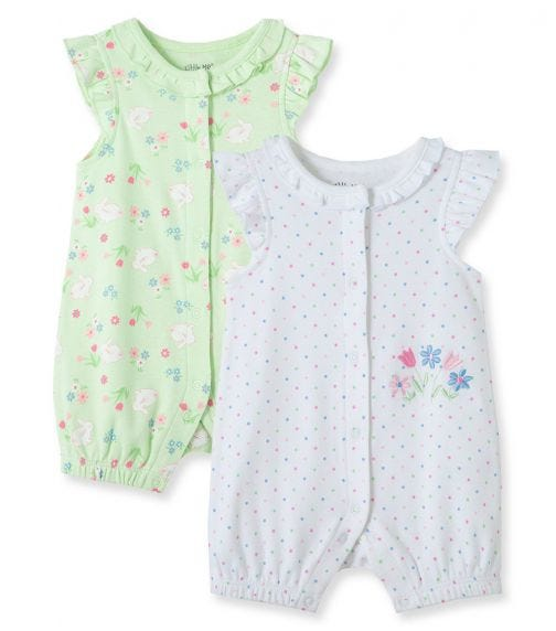 LITTLE ME 2-Pack Bunny Floral Rompers