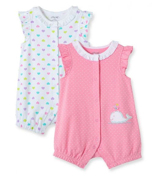 LITTLE ME 2-Pack Whale Rompers