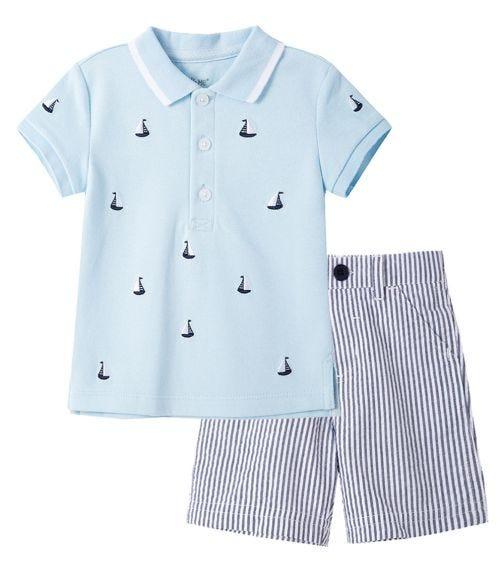 LITTLE ME Sailboat Polo Short Set