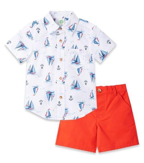 LITTLE ME Sailboat Woven Short Set