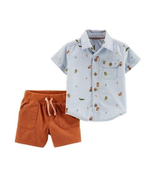 CARTER'S 2-Piece Animal Shirt & Twill Short Set