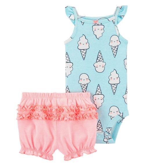 CARTER'S 2-Piece Ice Cream Bodysuit And Short Set
