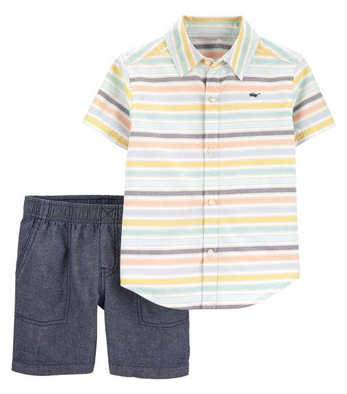 CARTER'S 2-Piece Striped Button-Front & Chambray Short Set