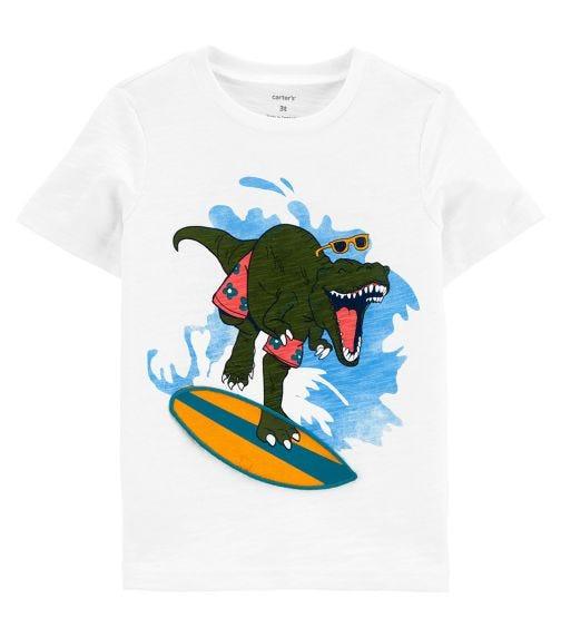 CARTER'S Surfing Dinosaur Interactive Slub Jersey Tee