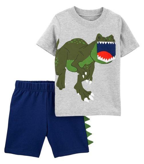 CARTER'S 2-Piece Dinosaur Pocket Tee & Short Set