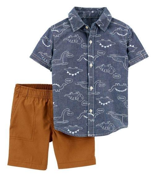 CARTER'S 2-Piece Chambray Button-Front Shirt & Short Set