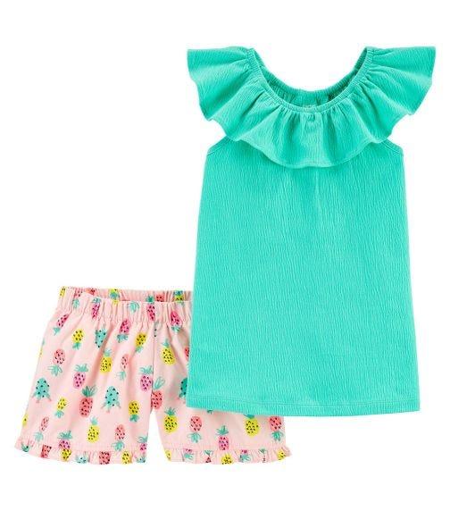 CARTER'S 2-Piece Crinkle Jersey Top & Pineapple Short Set
