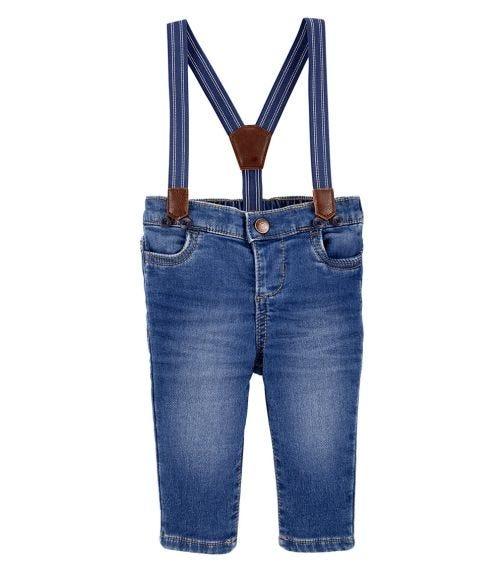 OSHKOSH Knit Denim Suspender Pants