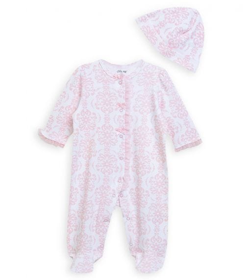 LITTLE ME Damask Scroll Onesie With Footie And Hat