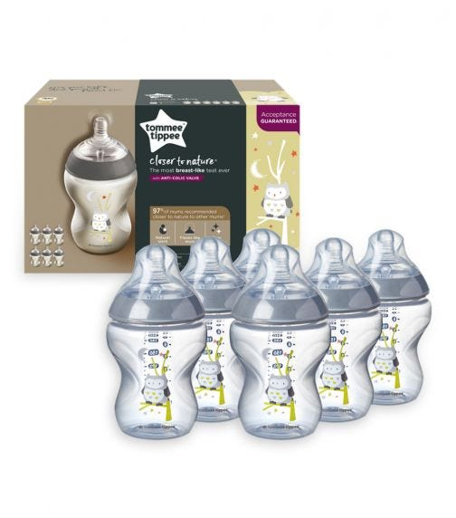 TOMMEE TIPPEE Closer to Nature Feeding Bottles - Boy (260ML x 6)