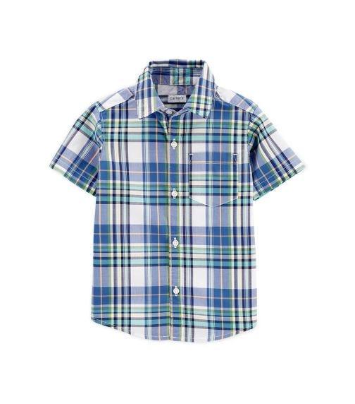 CARTER'S Plaid Poplin Button-Front Shirt