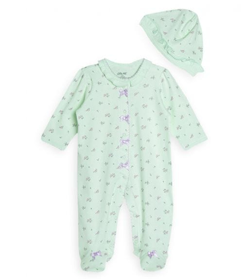 LITTLE ME Petite Roses Romper With Footie And Hat