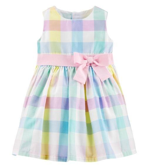CARTER'S Plaid Sateen Dress