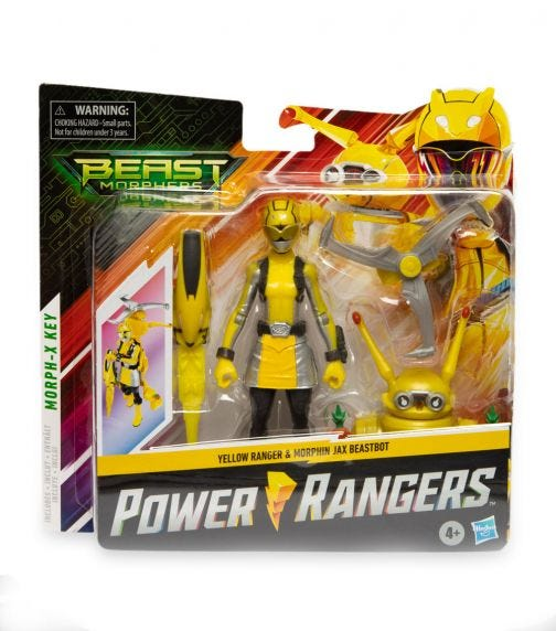 POWER RANGERS Beast Morphers 6 Inch Beastbot Figure Packs - Yellow Ranger & Jax Beastbot