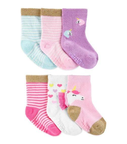CARTER'S 6-Pack Unicorn Crew Socks