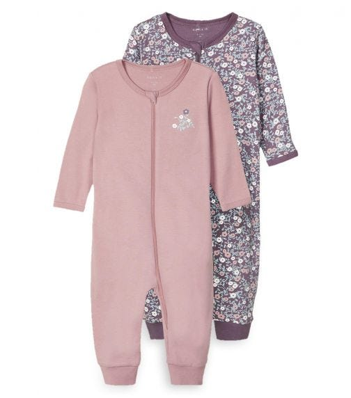 NAME IT Black Plum Sleeping Overall (2-Pack)