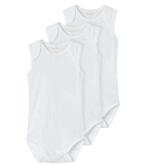 NAME IT Sleeveless Bright White Bodysuit (3-Pack)
