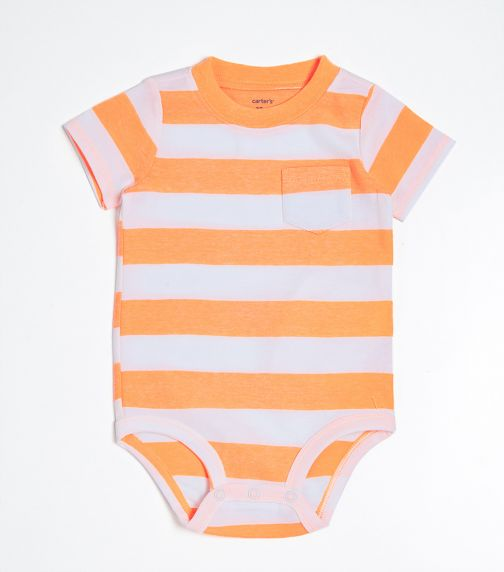 CARTER'S Neon Striped Pocket Bodysuit