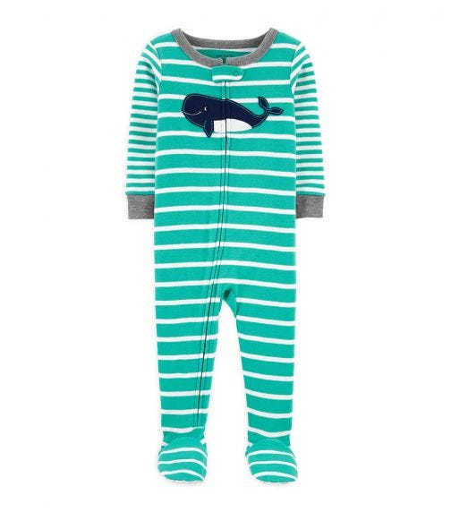 CARTER'S 1-Piece Whale Cotton Footie PJs