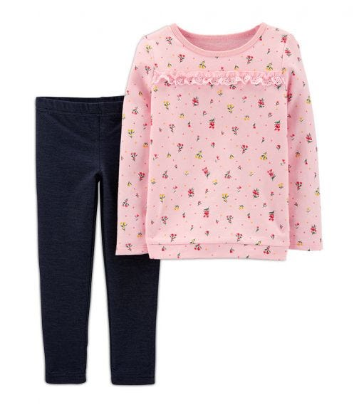 CARTER'S 2-Piece Floral French Terry Top & Knit Denims