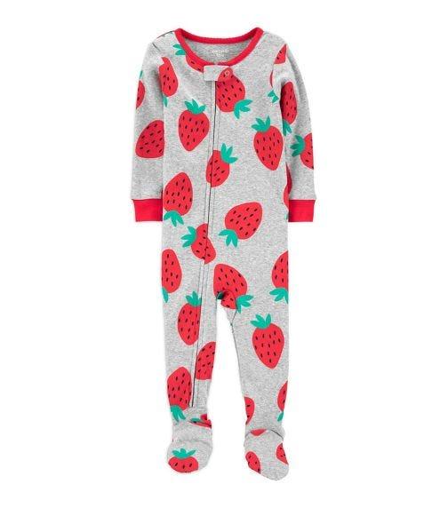 CARTER'S 1-Piece Strawberry Cotton Footie PJs
