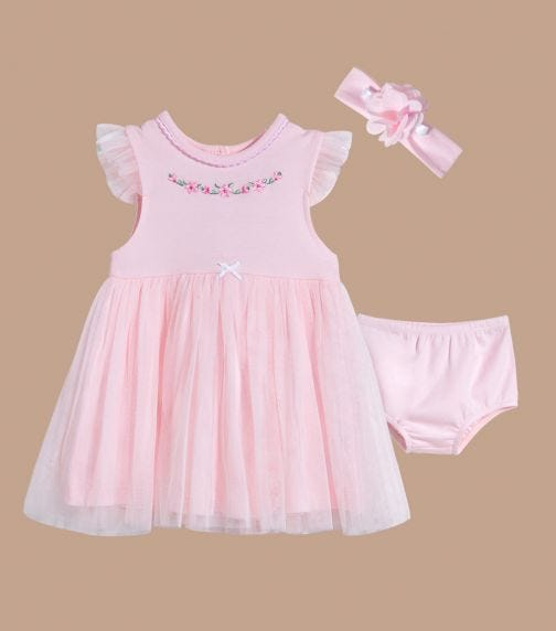 LITTLE ME Floral Swag Dress With Panty