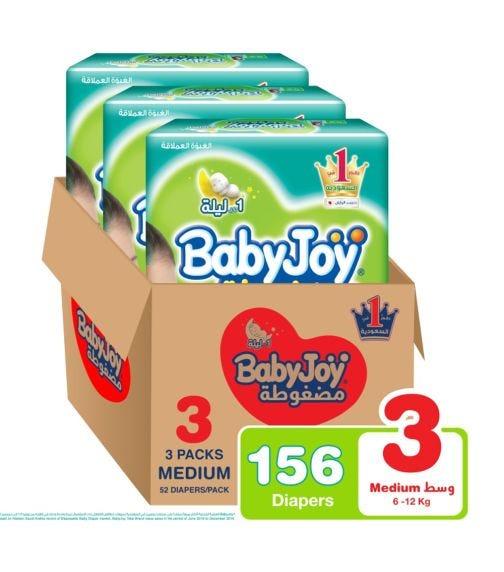 BABYJOY Compressed Diamond Pad Diaper, Jumbo Pack Medium Size 3, Count 156, 6 - 12 KG