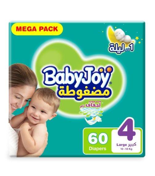 BABYJOY Compressed Diamond Pad Diaper, Mega Pack Large Size 4, Count 60, 10 - 18 KG