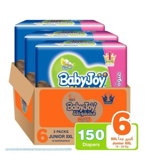 BABYJOY Cullotte Pants Diaper, Giant Pack Junior XXL Size 6, Count 150, 16 - 25 KG