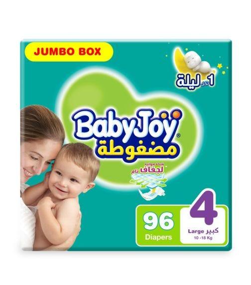 BABYJOY Compressed Diamond Pad Diaper, Jumbo Box Large Size 4, Count 96, 10 - 18 KG