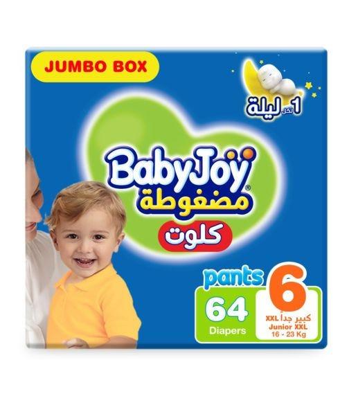 BABYJOY Cullote Pants Diaper, Jumbo Box Junior XXL Size 6, Count 64, 16 - 23 KG