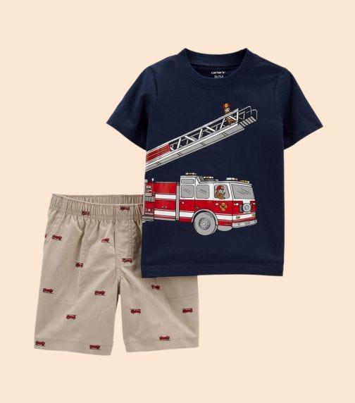 CARTER'S 2-Piece Firetruck Jersey Tee & Short Set