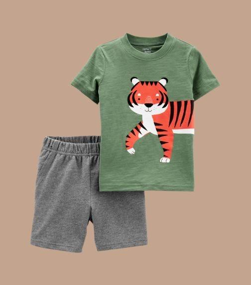 CARTER'S 2-Piece Tiger Jersey Tee & Short Set