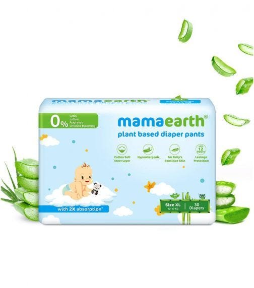 MAMAEARTH Plant-Based Diaper Pants For Babies Of 12-17 KG (Size XL)30 Diapers